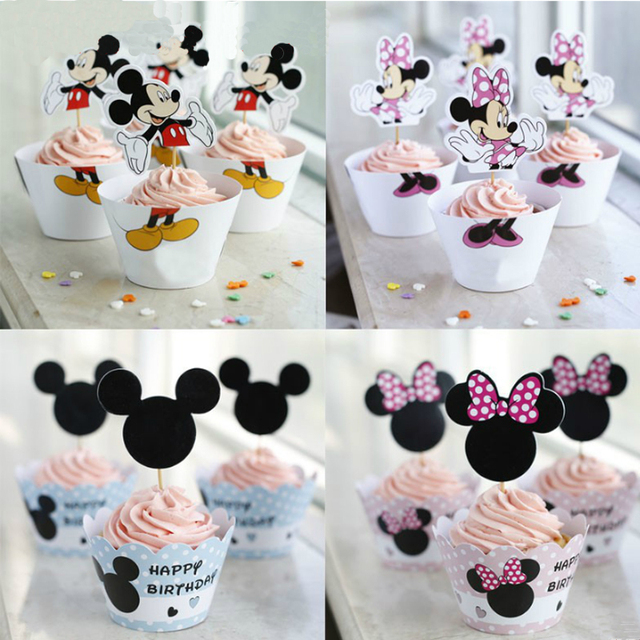 12pcs Wrappers 12pcs Toppers Minnie Mickey Mouse Design Colored