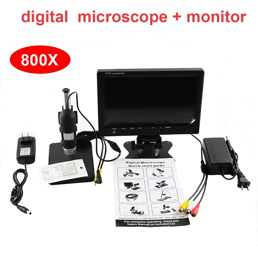 Microscopio digitale con 7 pollice monitor video microscopio elettronico magnifier 800X + 8 led HD 3.6 MP uscita AV