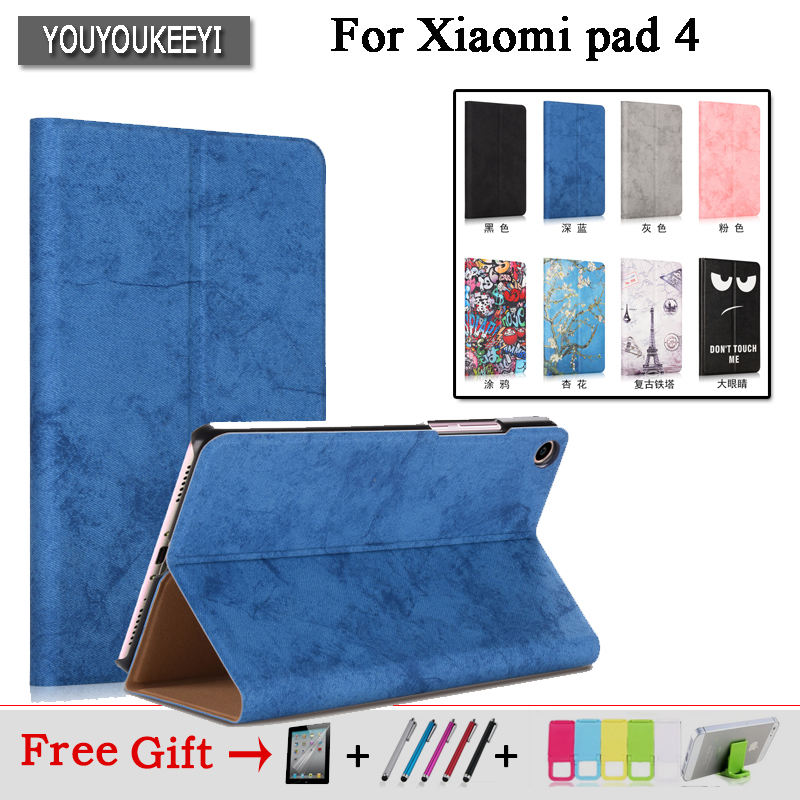Smart Case for Mi Pad4 mipad 4 Protective cover cases Stand cove For Xiaomi Mi Pad 4 Mipad4 8.0 inch Tablet PC+Screen Film gifts цена 2017