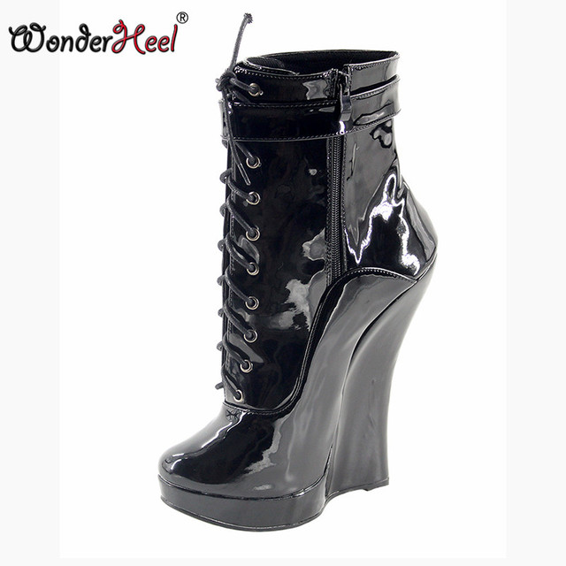 925d66457a80 Wonderheel hot patent leather extreme high heel 18cm wedges heel with 3cm  platform wedge ankle boots short boots women sexy boot