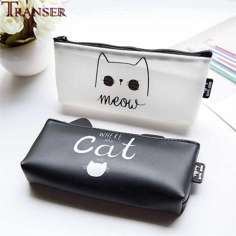 Transer New High Quality PU Leather Pencil Cases Stationery School Office Cute cat Pencil Bag Students Pen Case Cosmetic bag A9 big capacity high quality canvas shark double layers pen pencil holder makeup case bag for school student with combination coded lock