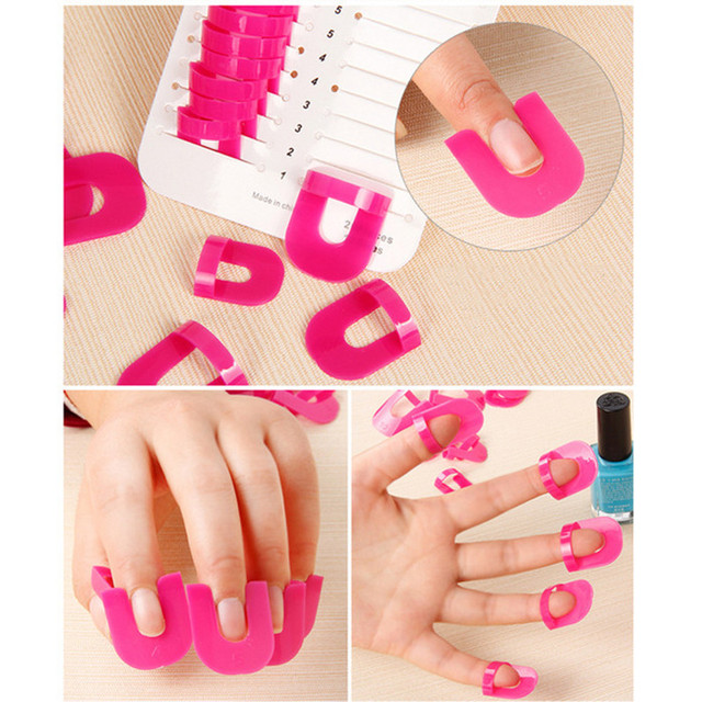 Women's fashion Pink 26pcs Nail Polish Glue Model Spill Proof Protector Tools+ 1 PC French Manicure Stickers Drop Shipping 1j31 5