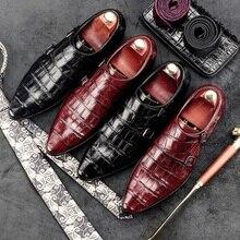Elegant Italian Designer Man Monk Straps Shoes Genuine Leather Basic Formal Dress