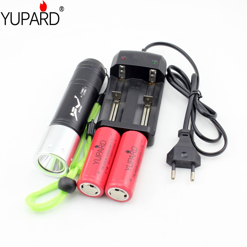 YUPARD Diving diver 60m Flashlight XM-L2 T6 ledWhite yellow Light Torch Waterproof underwater lamp lantern+26650 battery+charger yupard xm l t6 led yellow light torch flashlight diving lamp diver lantern underwater waterproof 26650 18650 battery