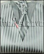 Wholesale cheap silver stripe men's suits high quality waistcoat 4pcs