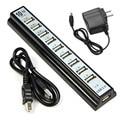 Mejor Precio de 10 Puertos de Alta Velocidad USB 2.0 Hub + Adaptador de Corriente para Ordenador PC portátil