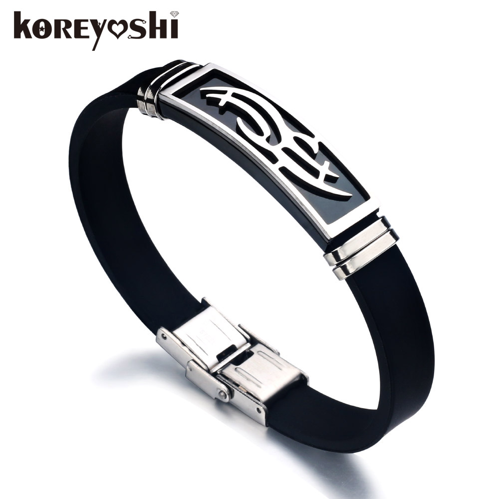 Hot Sale 2017 New Fashion Trendy Pria Pria Gelang Wristband Cuff Bangle Stainless Steel Hitam Gelang Silikon erkek bileklik