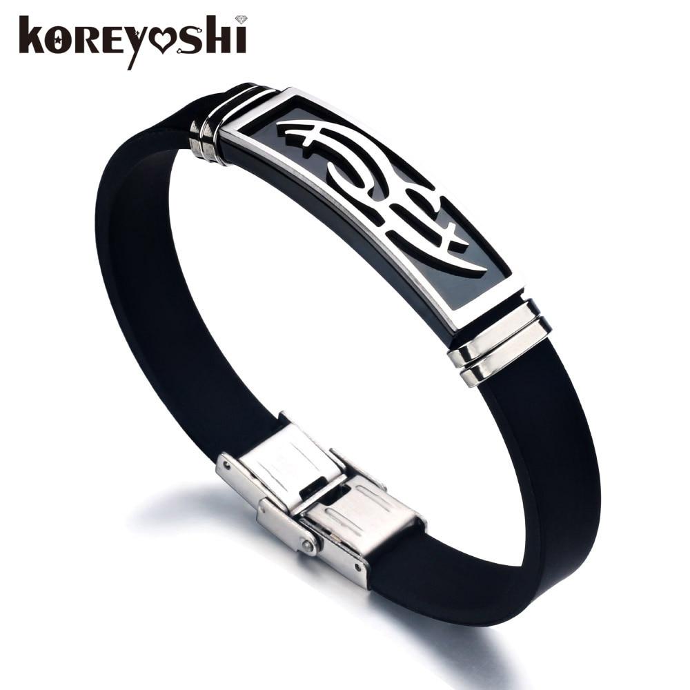 Hot Koop 2017 Nieuwe Mode Trendy Heren Heren Armband Polsband Manchet Armband Rvs Zwart Siliconen Armbanden erkek bileklik
