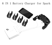6 In 1 Intelligent Spark Battery Remote Controller Charger Smart Fast Charging Same Time Hub USB Ports Parts For DJI Spark Drone