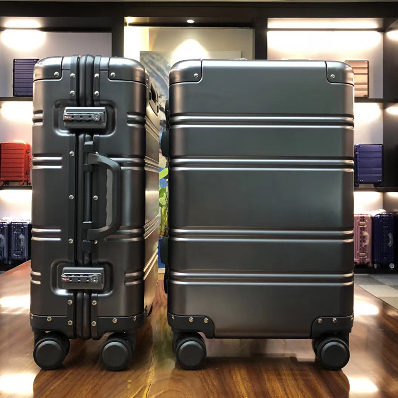 Suitcases Aluminum Frame Password Trolley case Clamshell Cup Holder DR Stylish Scratch-Resistant Brushed Hidden Hook Large Capacity Suitcase Pulley Luggage 4 Colors Luggage Sets Various Sizes