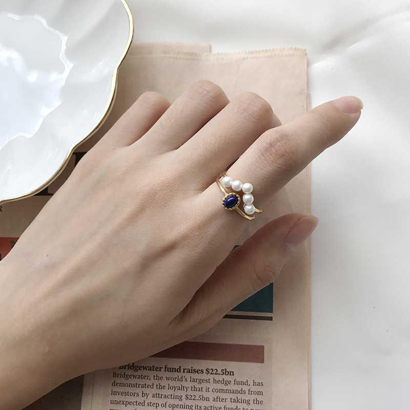 Peri'sBox จริง 925 เงินสเตอร์ลิงคู่ซ้อนแหวนไข่มุก Lapis Lazuli หมั้นแหวนเปิดแหวน