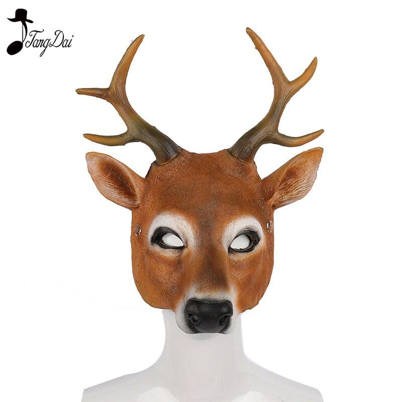 Christmas Reindeer 3D Animal Realistic Halloween Party Pu Foam Latex Deer Head Mask  halloween anime cosplay