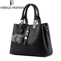 Herald Fashion Brand Tassel Women S Handbags PU Leather Luxury Female Top Handle Tote High Quality