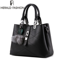 Herald Fashion Brand Tassel Women S Handbags PU Leather Luxury Female Top Handle Tote High Quality