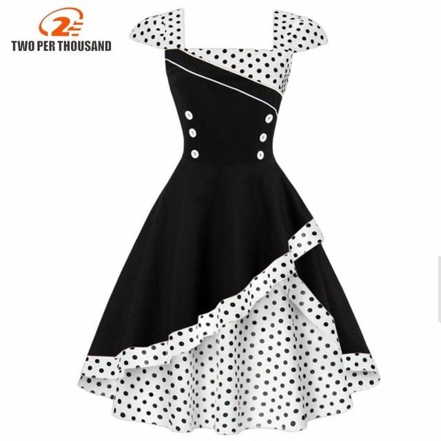 105f80fbed1 3XL 4XL Plus Size Women Tunic Vintage Dress Summer Evening Retro Party  Elegant Dot Patchwork Rockabilly 1950s Swing Midi Dresses