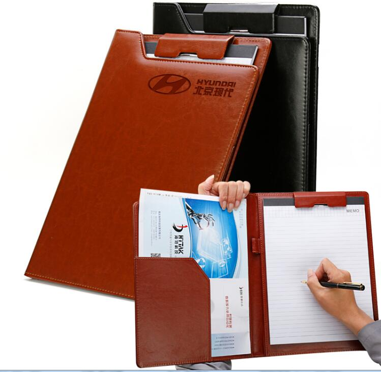 Creative Portable Portfolio Presentation File Folder Business Contracts Conference Folder Black Brown PU Leather A4 Padfolio(China)
