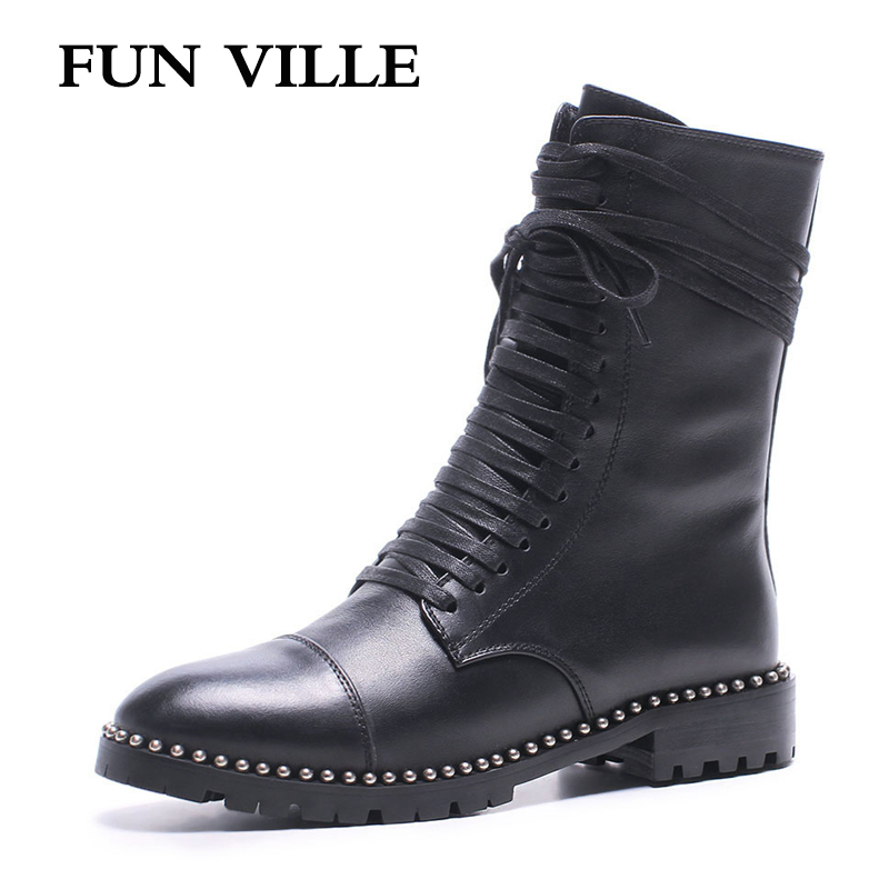 FUN VILLE 2017 New Fashion Autumn winter Women Ankle Boots Genuine leather Martin boots black Flat shoes for woman Round toe front lace up casual ankle boots autumn vintage brown new booties flat genuine leather suede shoes round toe fall female fashion