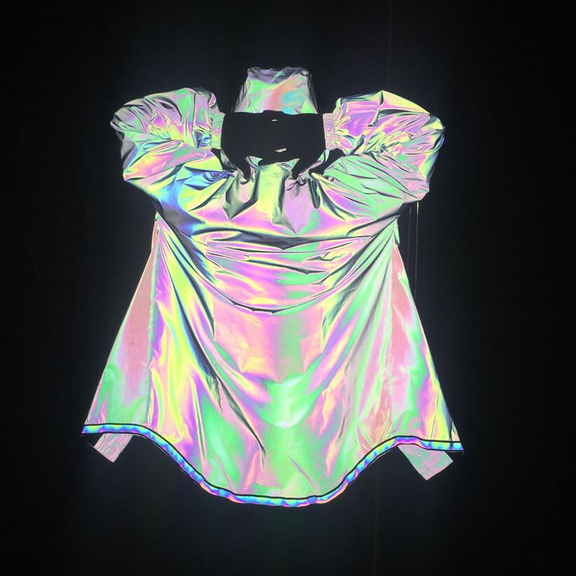 2019 New Fashion Men Hip Hop Colorful Reflective Long Trench Coat Street Punk Hooded Cloak Jackets Male Nightclub Stage Costume