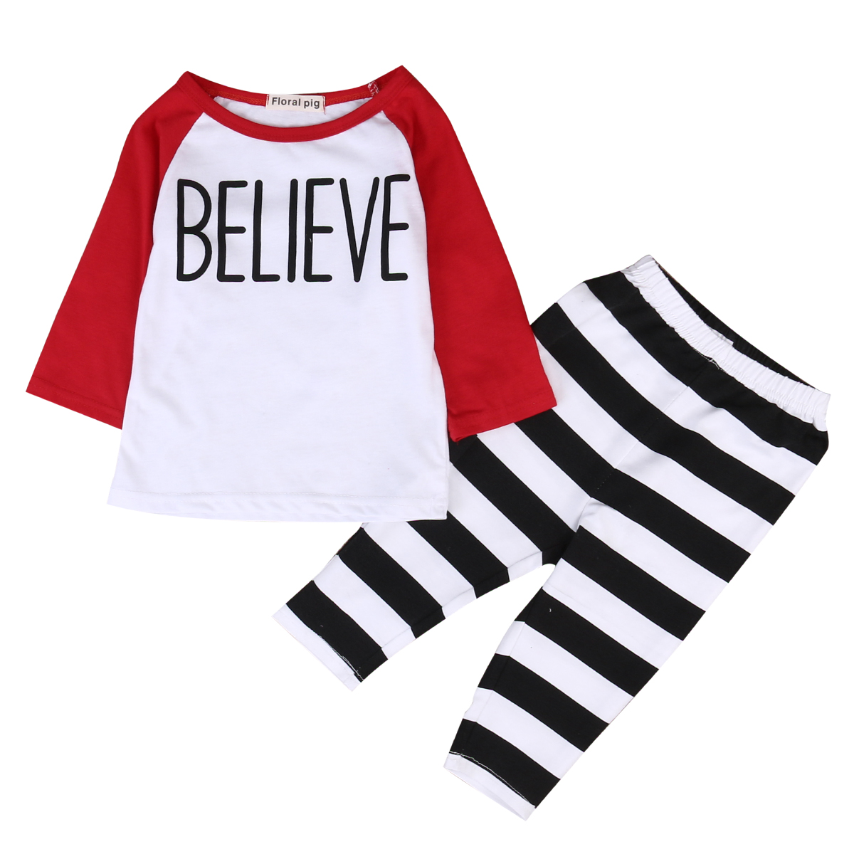 2017 Newborn Baby Boys Girls Long sleeve Letter Cotton T-shirt Tops +Striped Pants Outfits Clothes Set