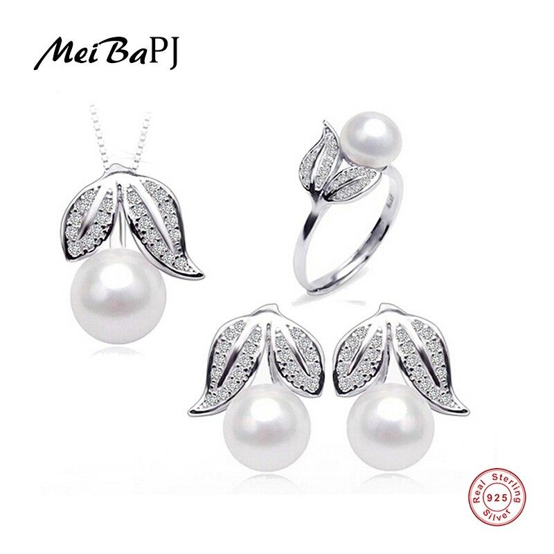 [Meibapj] Удивительные Цена 925 стерлингового серебра 100% настоящий натуральный пресноводный жемчуг комплект ювелирных изделий для женщин
