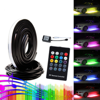 OKEEN led underglow 5050 LED music Sound Control RGB Flash Strip Tube Light Kit Under Car Glow Underbody System Wireless Remote