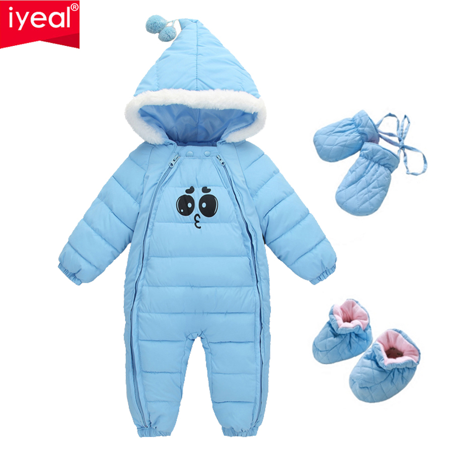 IYEAL Winter Baby Rompers Thick Warm Infant Clothes Newborn Baby Boy Girl  Jumpsuit Hooded Kid Outerwear Overalls For 0-18Months baby down hooded jackets for newborns girl boy snowsuit warm overalls outerwear infant kids winter rompers clothing jumpsuit set