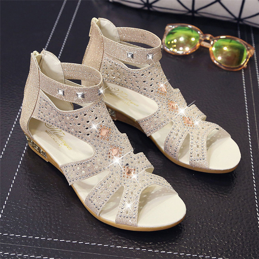 New Arrival Fashion Spring Summer Ladies Women Wedge Sandals Fashion Fish Mouth Hollow Roma Shoes Zapatos Mujer Sandalias 2018 in the summer of 2016 the new wedge heels with fish in square mouth denim fashion sexy female cool shoes nightclubs