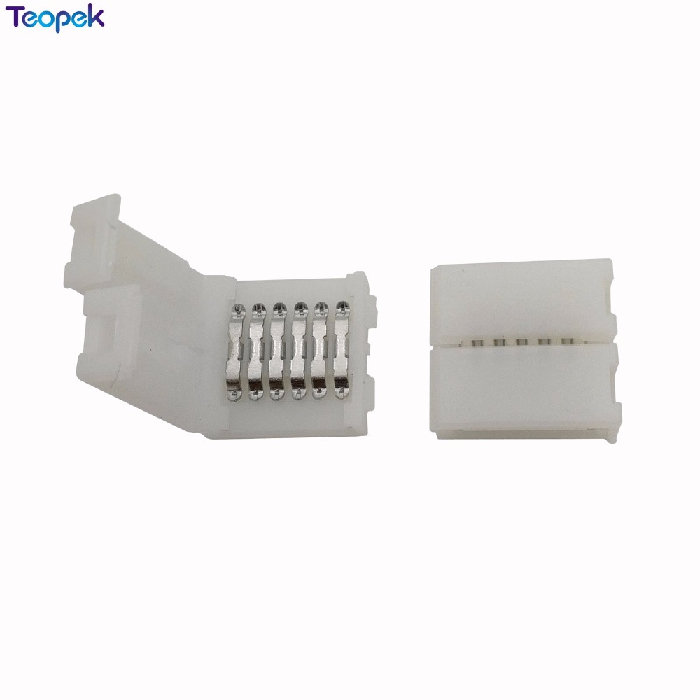 20pcs 6 Pin 12mm PCB Strip To Strip Solderless FPC Snap Down Clip Board Connector For 12mm Width 6Pin RGB+CCT LED Strip