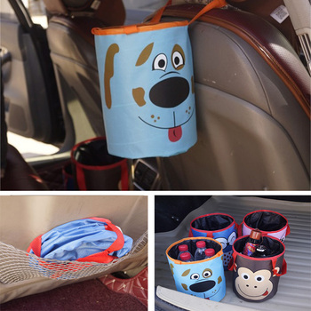 Mini Car Trash Bin Organizer Storage Bag Bucket Box Car Trash Can Rubbish Garbage Holder Seat Back Bag Basket image