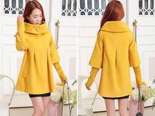 new winter women Cape loose knitted sleeves Woolen coat windbreaker jacket plus size(China)