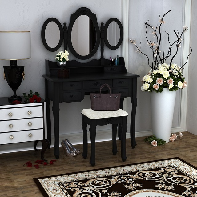 Wooden Dressing Table Black Pine Makeup Desk With Stool 3 Oval Mirror 7 Drawers dropshipping