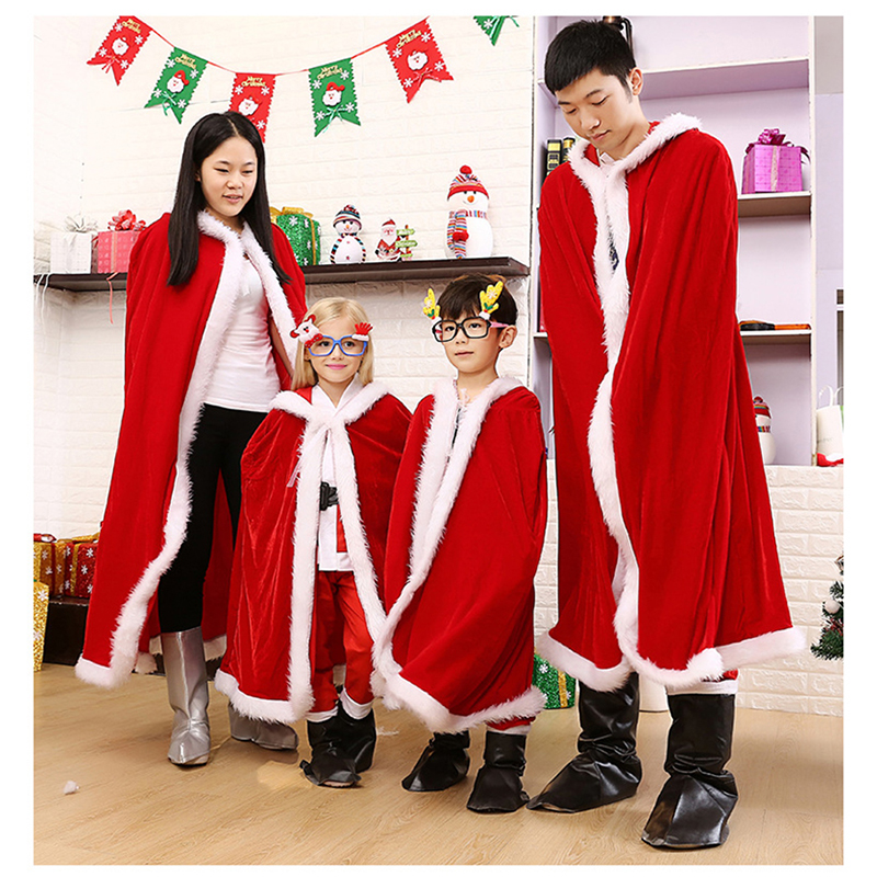 Unisex Christmas Cloak Carnival Cosplay Costume Red Velvet Long Cloak Mrs Santa Claus Party Cape Hoodies For Adult and Kids
