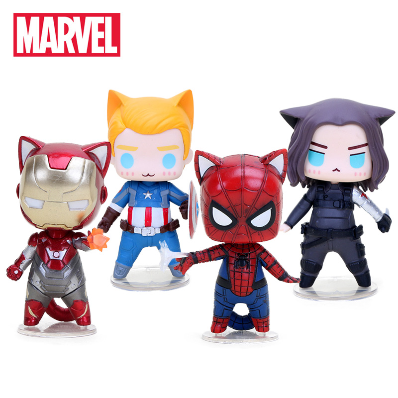 8-10cm Marvel Toys The Avengers Figure Q Version Superhero Captain America Winter Soldier Spiderman Figures Collectible Model(China)