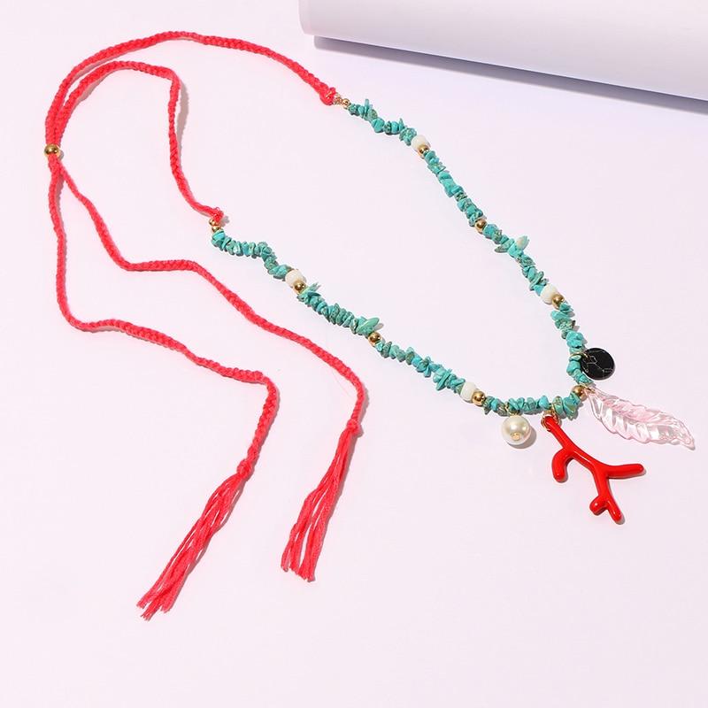 KOMi Handmade Necklace Shell Coral Stones Pearls Crystal Turquoises Charm Pendant Earrings Necklaces Set ожерелье серьги B40213