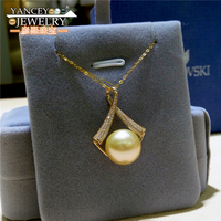 YANCEY Natural Pearl Pendants Necklace Fina Jewelry 11 12mm Big Golden South Sea Pearl Pendants, With 18 G18k gold necklace