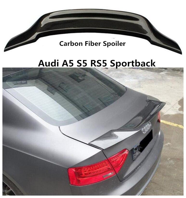 Углеродного волокна спойлер для Audi A5 S5 RS5 Sportback 2009 2019 высокое качество R Стиль Спойлеры авто аксессуары EMS