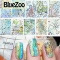 BlueZoo 11 Estilos/pack Cubierta Completa Pegatinas de Uñas Marca de agua Arte Mapa Pegatinas de Uñas De Moda Diseños Mezclados Nail etiqueta de Transferencia láminas
