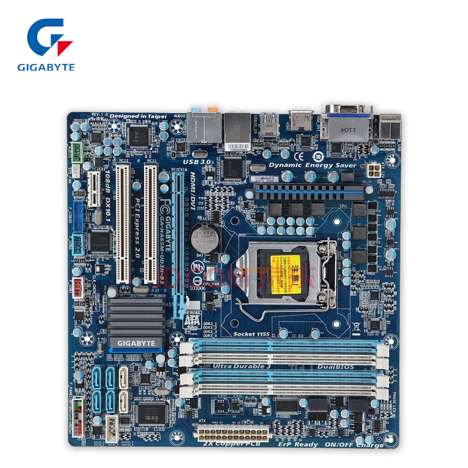 Gigabyte GA-HA65M-UD3H-B3 Original Used Desktop Motherboard HA65M-UD3H-B3 H61 LGA 1155 i3 i5 i7 DDR3 16G for gigabyte ga p61 ds3 b3 original used desktop motherboard p61 ds3 b3 for intel h61 lga 1155 for i3 i5 i7 ddr3 16g atx