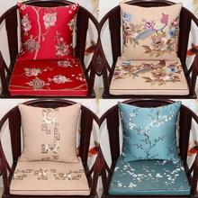 Thicken Chinese Flower Seat Cushion Sofa Chair Christmas Cushions Home Decor Lumbar Pillow Silk Brocade Armchair