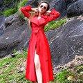 2015 Nueva moda de primavera y otoño de las mujeres gabardina larga elegante da vuelta-abajo a largo abrigo mujer plus size outwear capa del viento