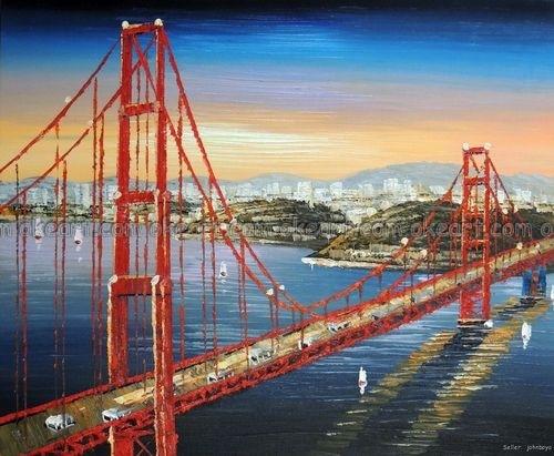 Ручная роспись Золотые ворота мост оранжевый Sunrise San Francisco Bay украшения маслом Высокое качество