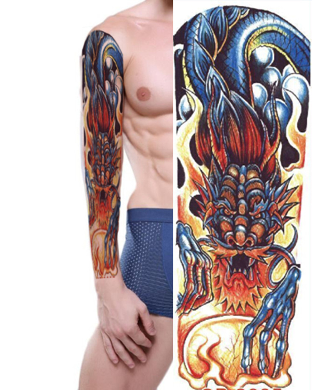 Plein Bras Autocollants De Tatouage Grand Dragon Fleur D Epaule Faux