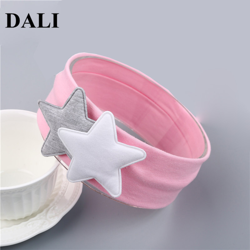 Lovely Baby Star Headbands Girls Pink White Two Big Star Soft Turban Hair Bands Toddler Infant Headwraps Headbands For Newborn