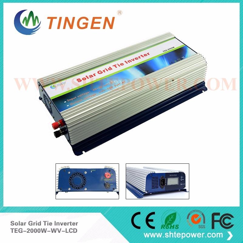 220V 48V Grid Tie Inverter 2KW Micro Inverter Grid Tie Solar With LCD Display DC 45V-90V Input maylar 22 60vdc 300w dc to ac solar grid tie power inverter output 90 260vac 50hz 60hz