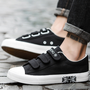 Image 3 - Mens Sneakers Canvas shoes for Boys Breathable Hook & loop Solid Brand Hard wearing Fashion Black/Blue/White Shoes Man