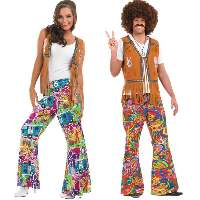 Men/ Women 60s/70s Retro Hippie Groovy Dancing Groovy Hippy Disco Fancy Dress Up Costume Bellbottoms Masquerade Party Costumes