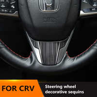 Drawing titanium black Interior Steering wheel decorative sequins Stainless Steel trim 1pcs for Honda CRV 2017 2018 2019