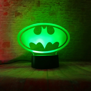 Image 2 - Amroe DC Justice League Marvel Batman Symbol 7 Color Dimming Auto 3D Night Light Child Kids Table Lamp Birthday Xmas Toys Gifts