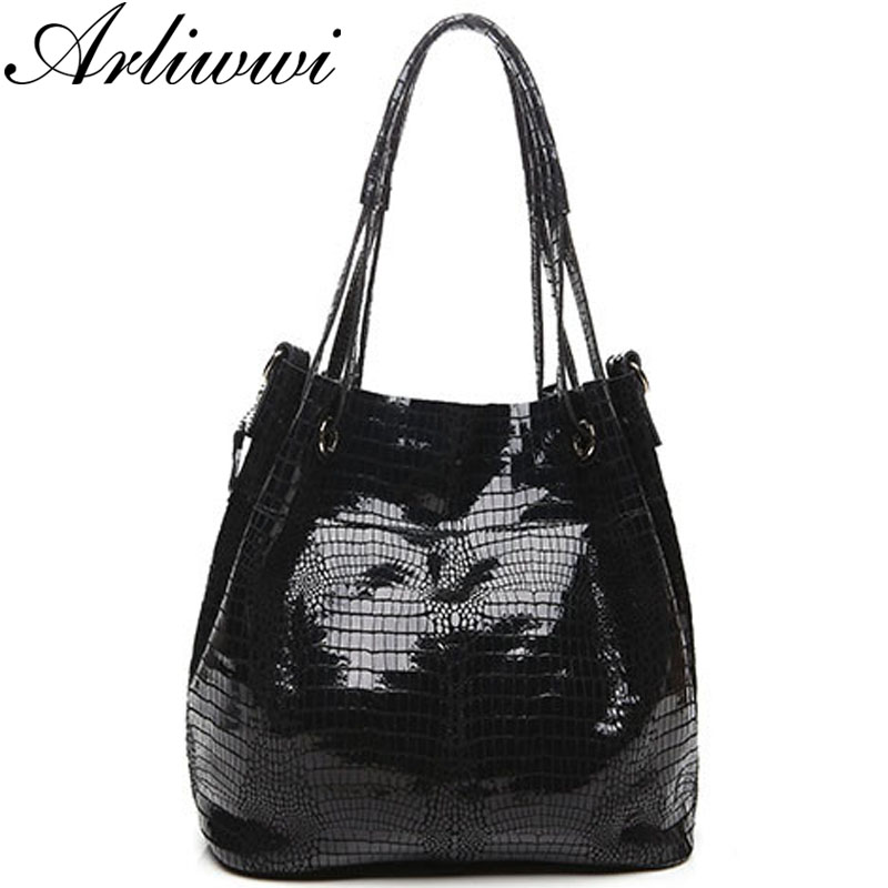 Classic 100% Real Leather Bucket Shoulder Bags For Women Shiny Crocodile Pattern Cowhide Large Capacity Tote Handbags B1322