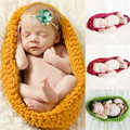 Cotton Baby Photography Props Handmade Newborn Knitted Hat Pod Sleeping Bag Knit Swaddle Blanket  0-12M  5 Colors